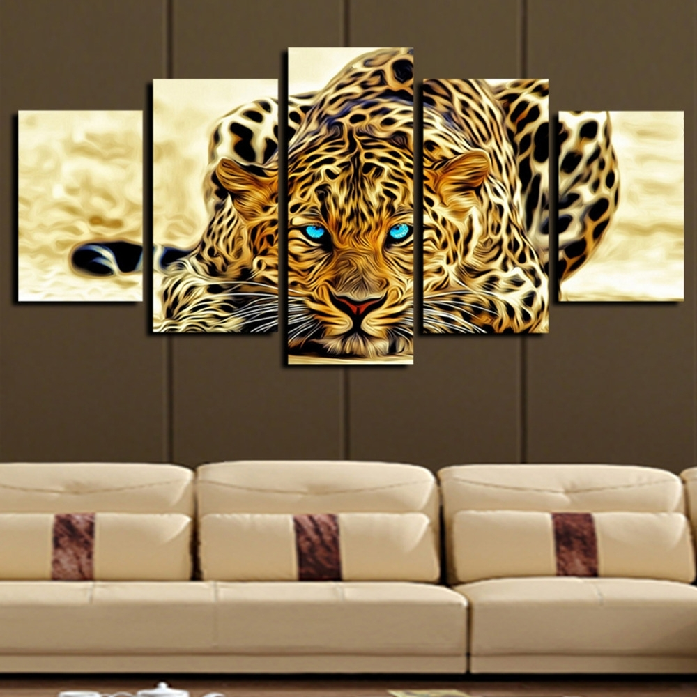 Wall Art Print Sets Pertaining To Latest 5 Plane Abstract Leopards Modern Home Decor Wall Art Canvas Animal (View 9 of 15)