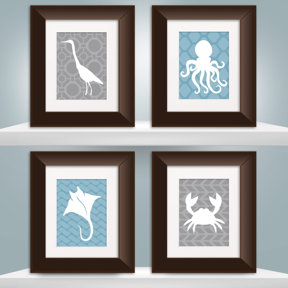 Wall Art Print Sets With Regard To Trendy Set Of 4 Sea Life Prints – Choose Size  Project Cottage (View 13 of 15)