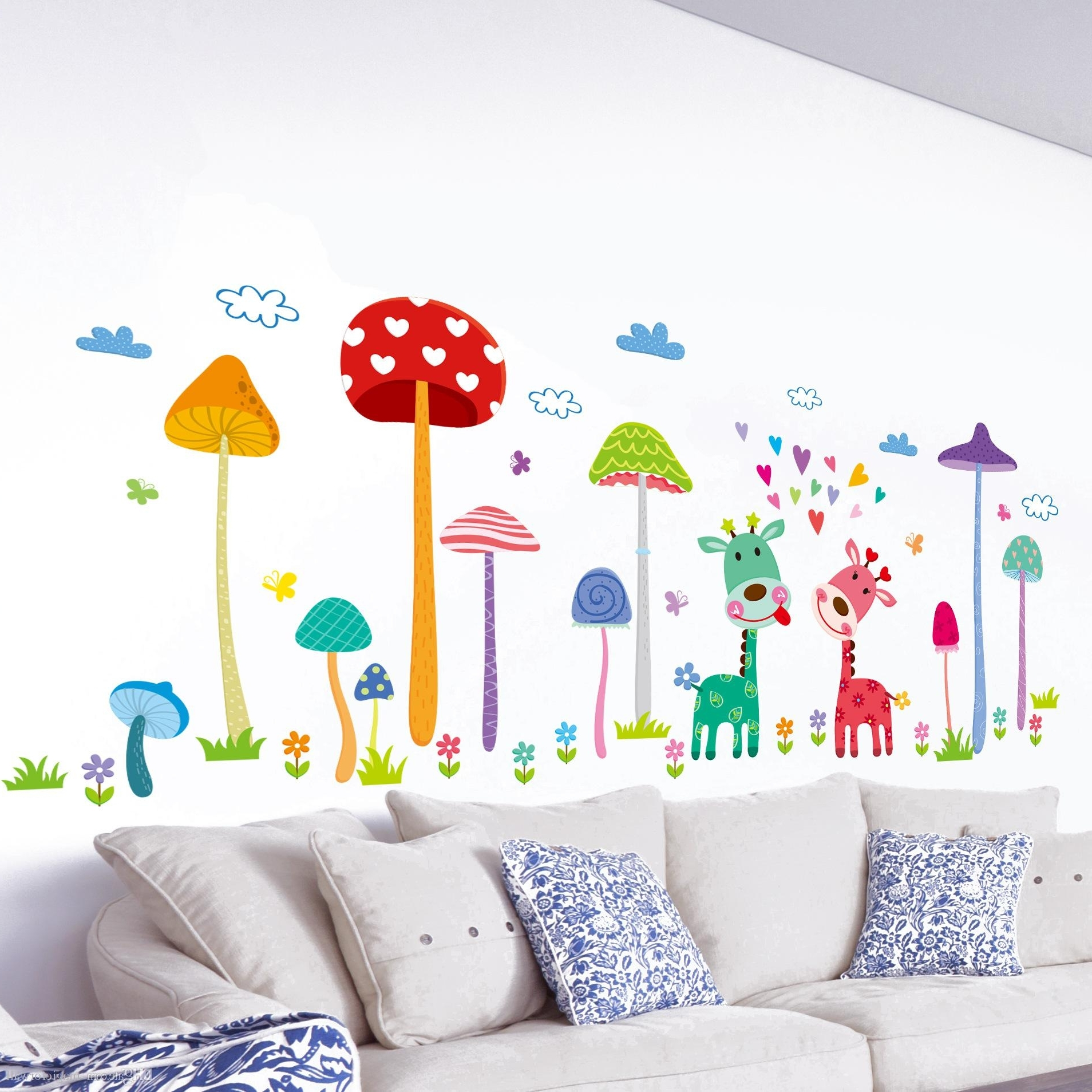 Wall Art Stickers For Childrens Rooms With Fashionable Forest Mushroom Deer Animals Home Wall Art Mural Decor Kids Babies (View 12 of 15)