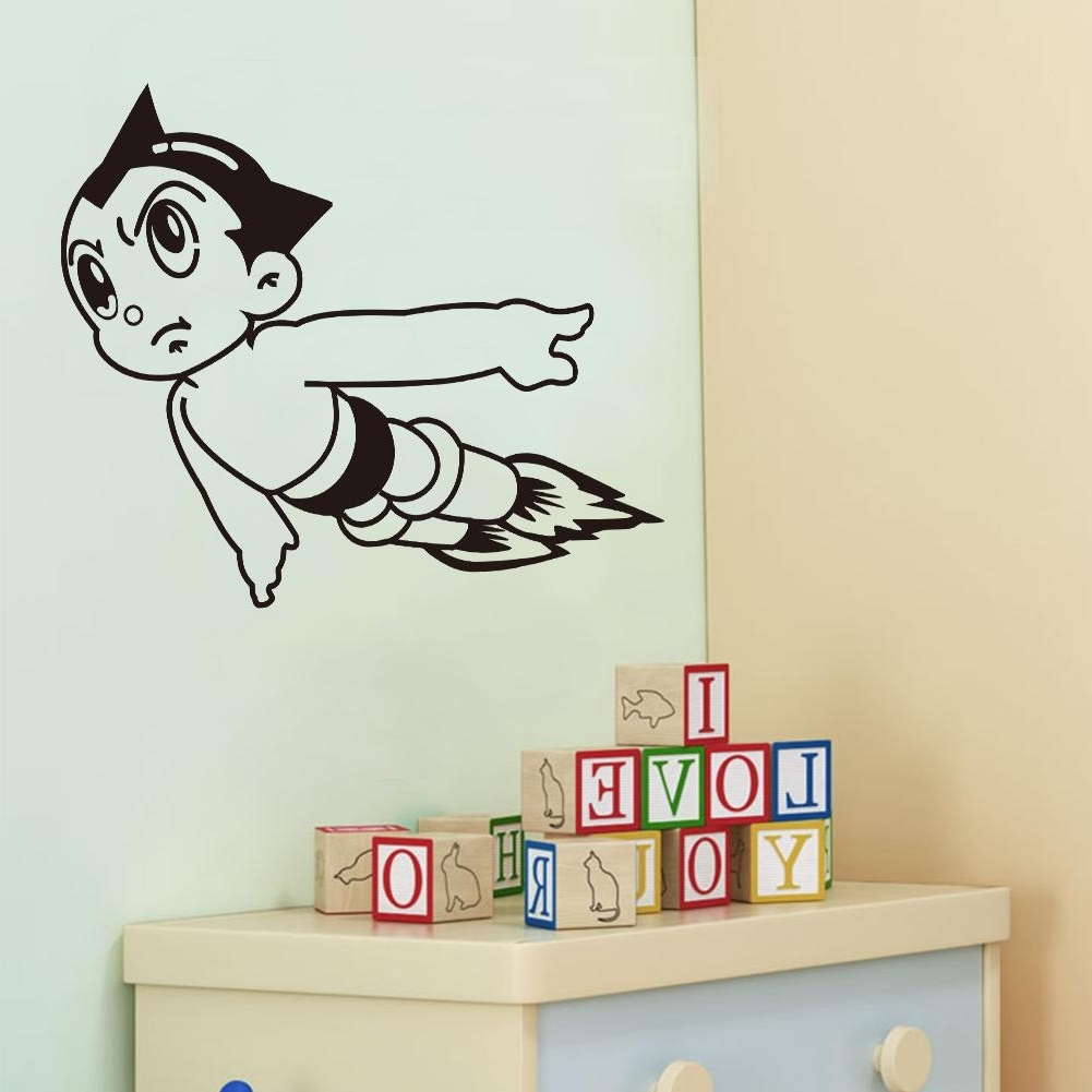Wall Art Stickers For Childrens Rooms Within Most Recent Vinyl Wall Art Stickers Astro Boy Cartoon Decals For Boys Room (View 13 of 15)