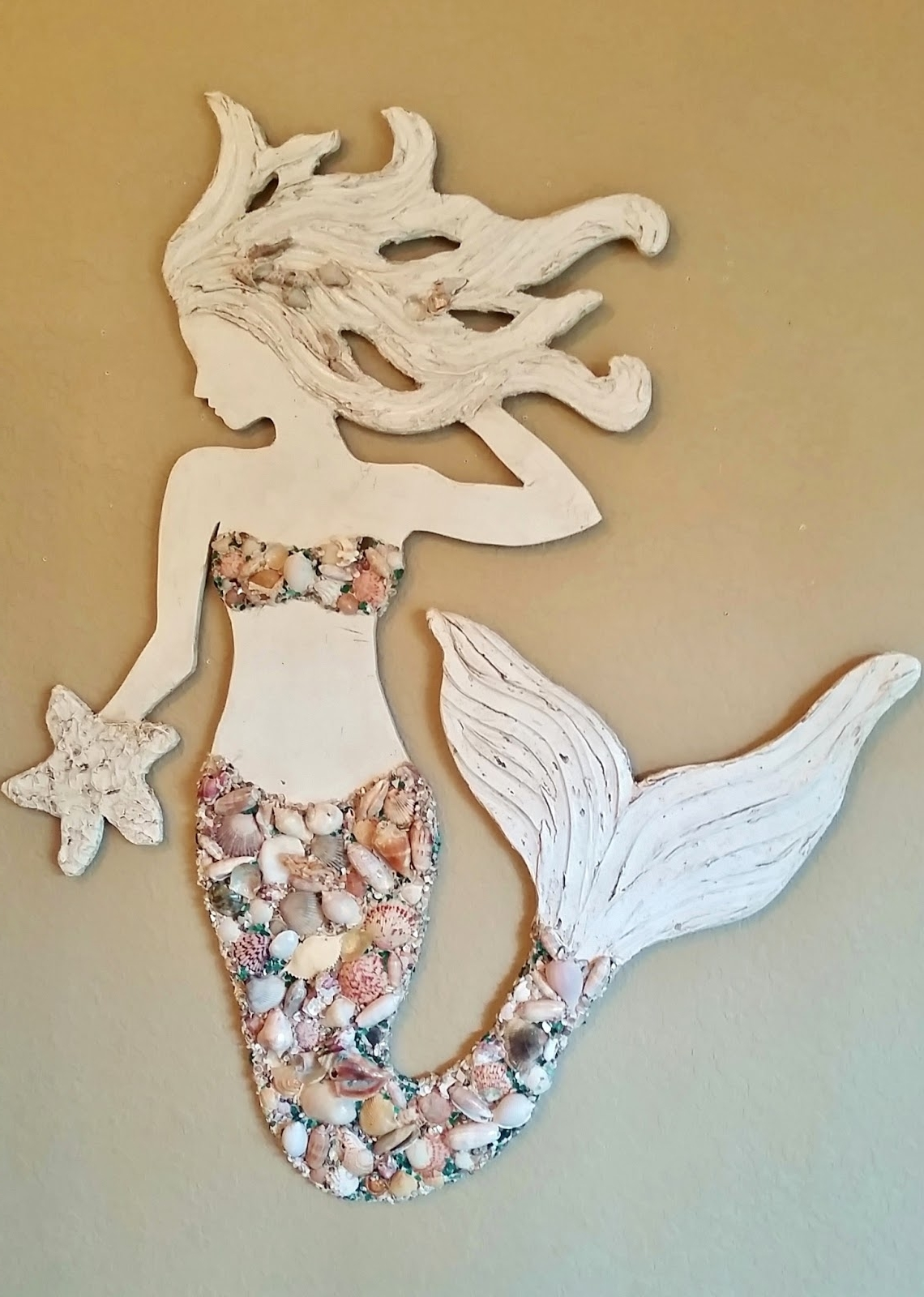 Wall Art With Seashells Pertaining To Most Current Mermaid Wall Art New Design, Wood Mermaid Vertical Style Beach Art (View 4 of 15)