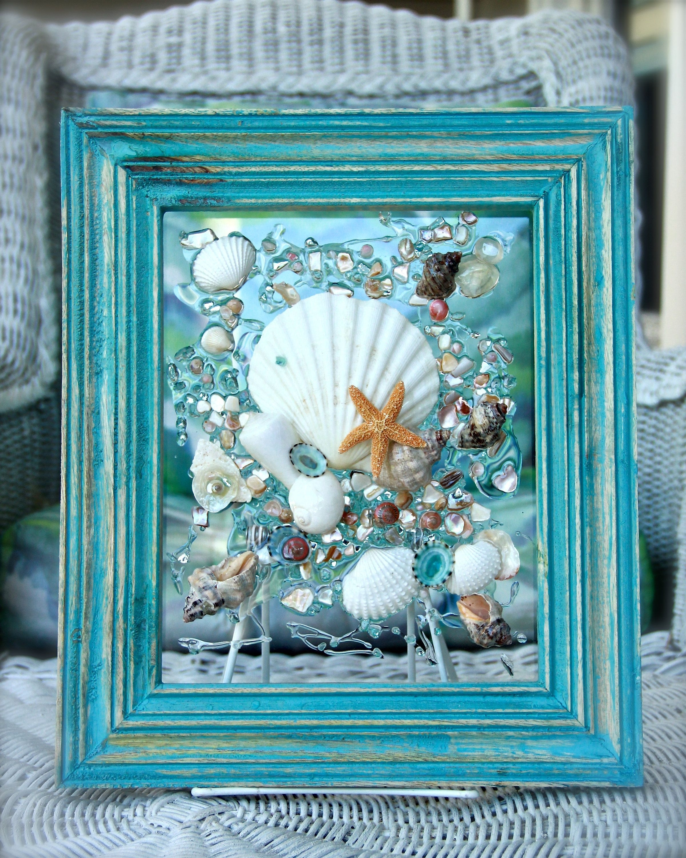 Wall Art With Seashells Pertaining To Most Recently Released Beach Decor Of Seashell Art, Beach Bathroom Decor Wall Hanging (View 2 of 15)