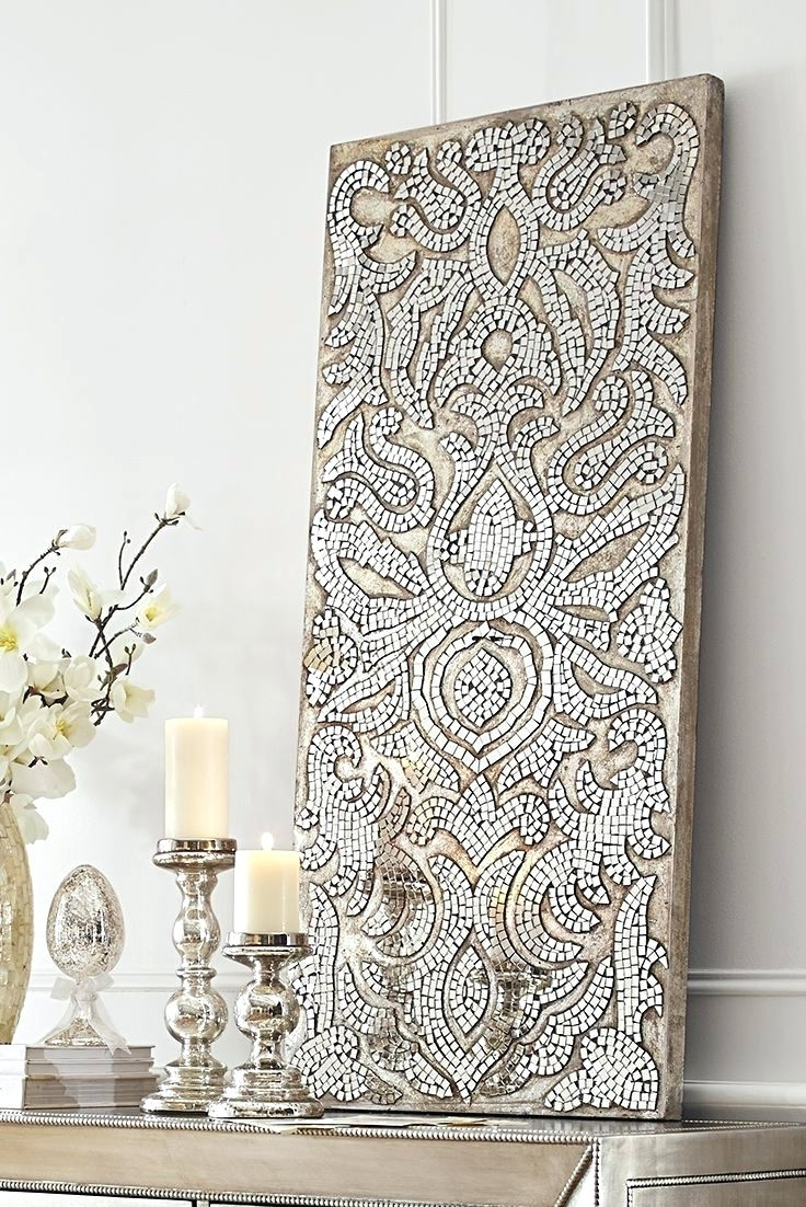 Wall Arts ~ Champagne Mirrored Mosaic Damask Panel Pier One Within Latest Pier One Abstract Wall Art (View 11 of 15)