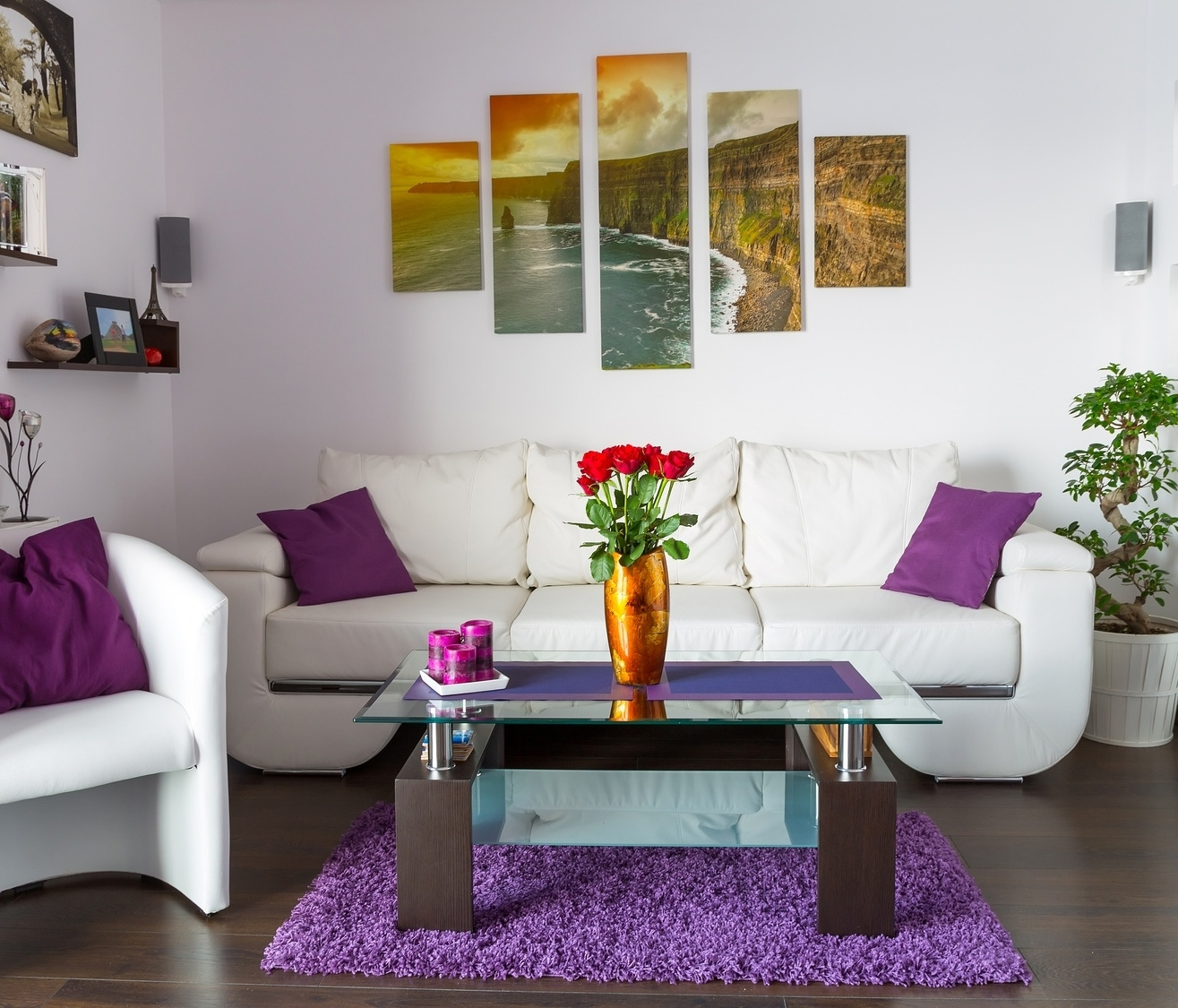 Wall Arts For Living Room With Best And Newest Nice Modern Living Room Wall Art Canvas With White Sofa And Purple (View 12 of 15)