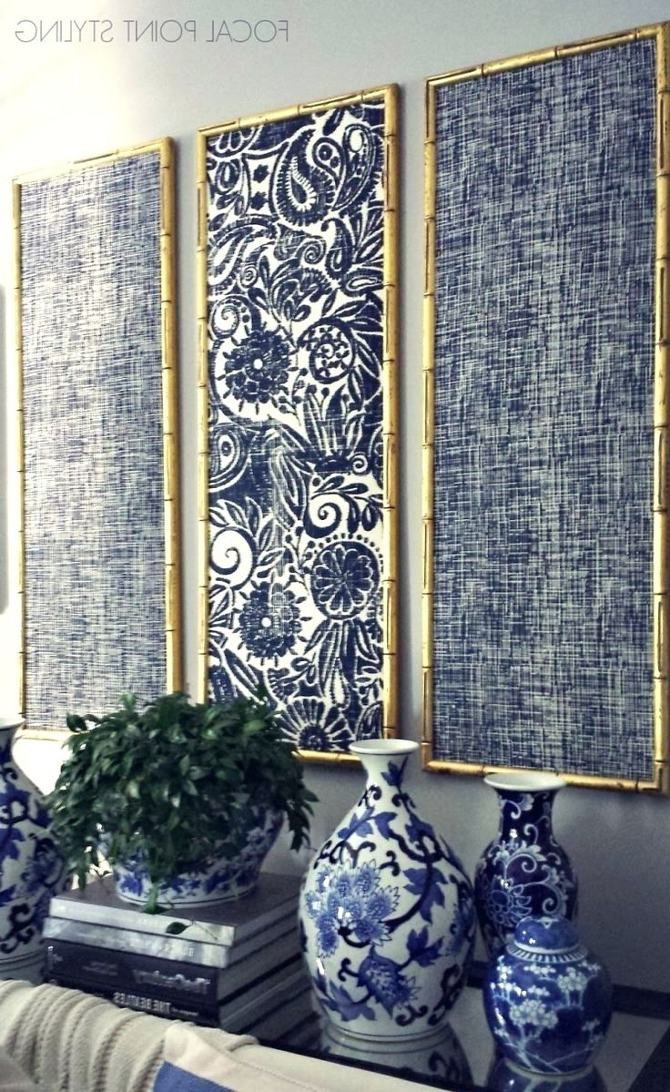 Wall Arts ~ Gold Bamboo Frames With Navy Blue Chinoiserie Fabric For Best And Newest Olive Green Abstract Wall Art (View 9 of 15)