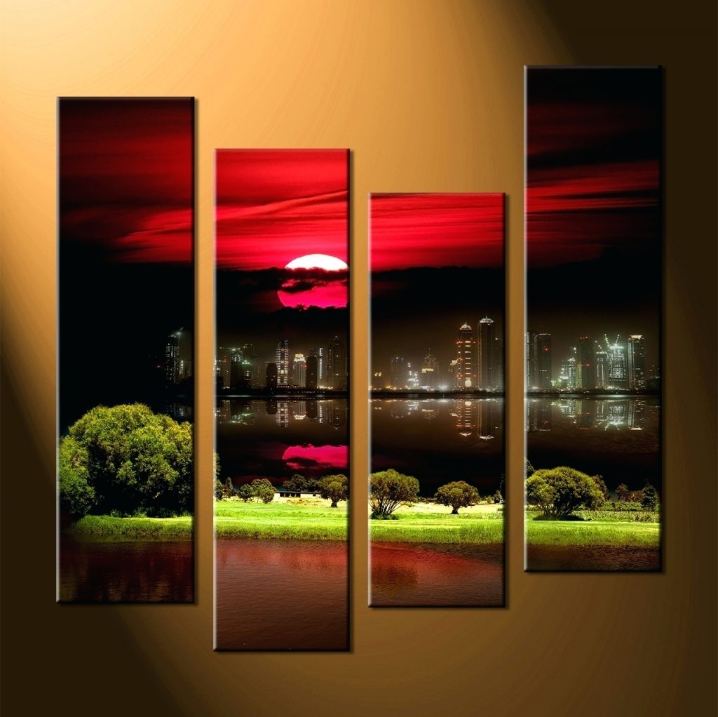 Wall Arts ~ Home Wall Decor 4 Piece Canvas Art Prints City Huge With Regard To Best And Newest 4 Piece Wall Art (View 14 of 15)
