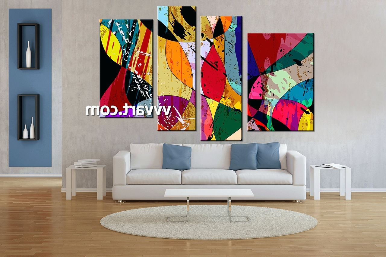 Wall Arts ~ Home Wall Decor 4 Piece Canvas Wall Art Abstract For Famous 4 Piece Canvas Art Sets (View 13 of 15)