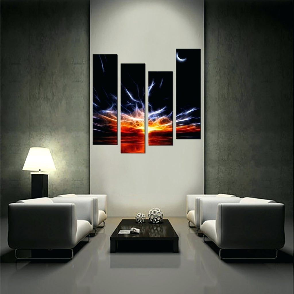 Wall Arts ~ Living Room Art 4 Piece Canvas Wall Art Abstract Decor Regarding Most Up To Date 4 Piece Wall Art Sets (View 13 of 15)