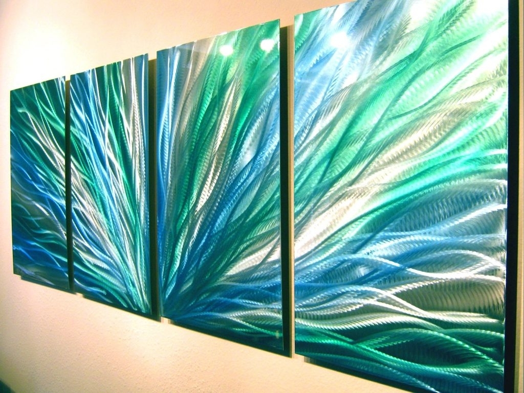 Wall Arts ~ Radiance Blue Green Abstract Metal Wall Art For Current Abstract Metal Fish Wall Art (View 6 of 15)