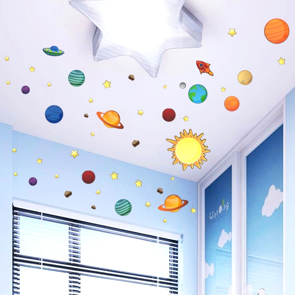 Wall Arts ~ Solar System Wall Art Stickers Solar System With Space Intended For Favorite Astronaut 3D Wall Art (View 12 of 15)