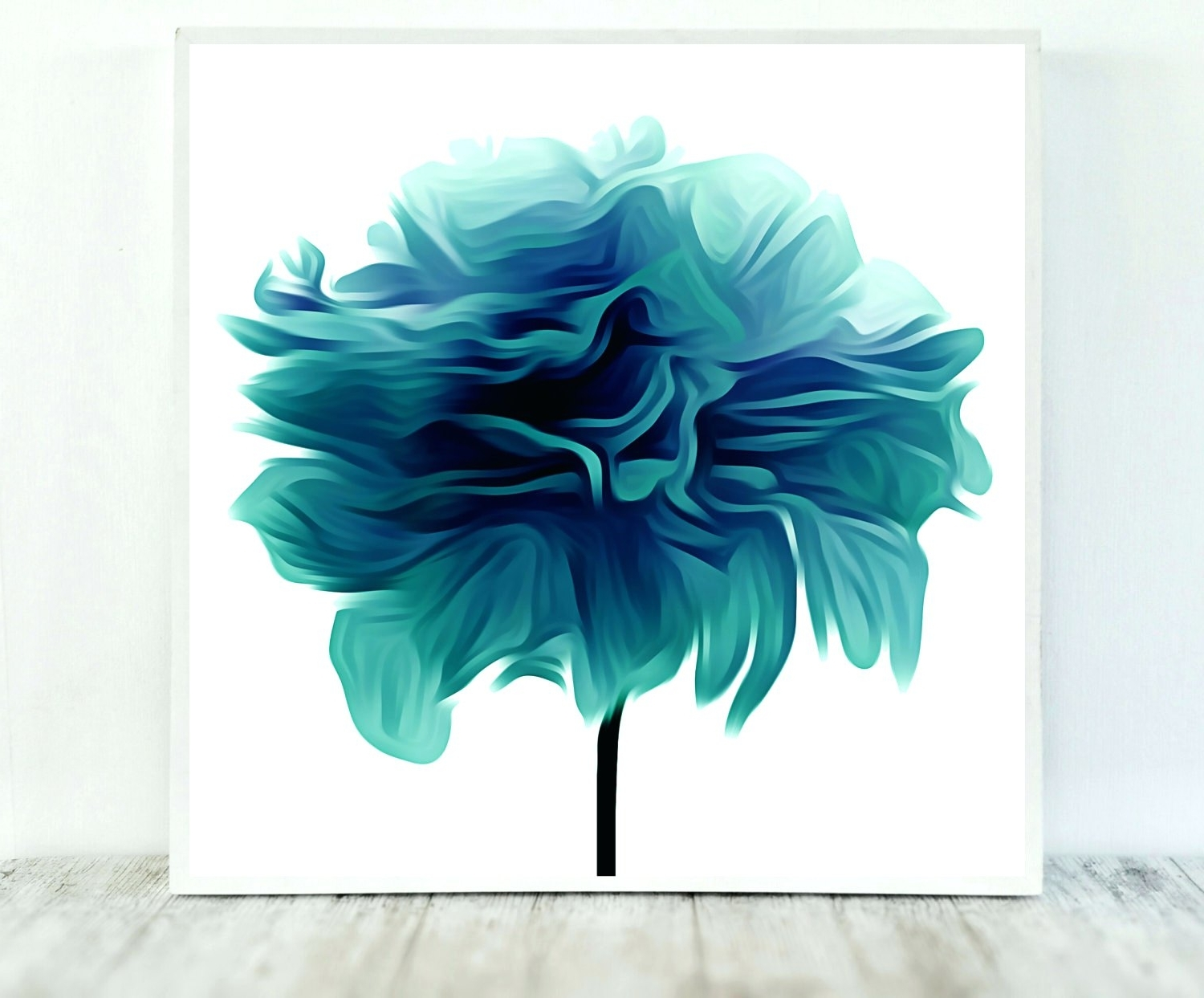 Wall Arts ~ Teal Flower Canvas Wall Art Blue Green Flower Wall Art In Most Recent Teal And Green Wall Art (View 14 of 15)
