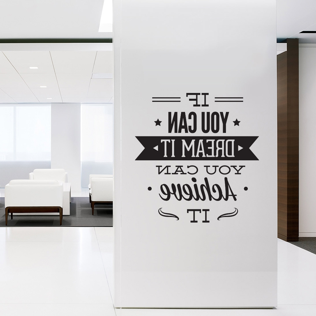 Wall Decal Quotes – Wall Art Typographic Sticker Dream It Achieve Pertaining To Newest Motivational Wall Art For Office (View 15 of 15)