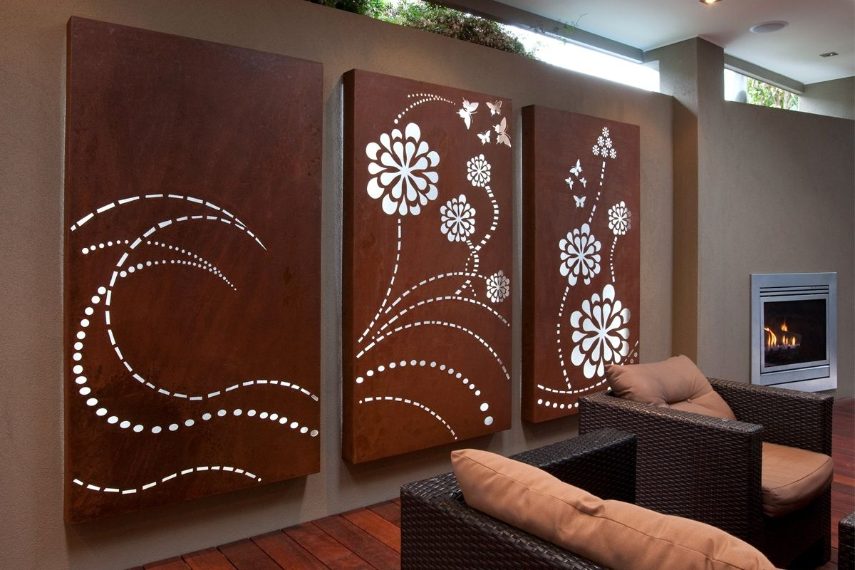 Wall Light Box Art Within Popular Flower Wave' Light Box Triptych, Laser Cut Wall Art For Outdoor (View 4 of 15)