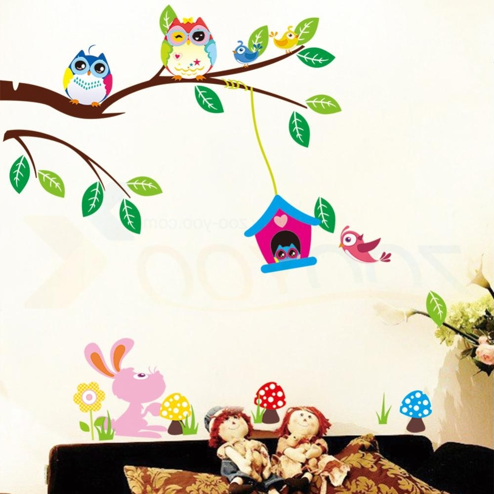 Wall Stickers For Kids Room Decorations Animal Decals Bedroom With Regard To Preferred Children Wall Art (View 14 of 15)