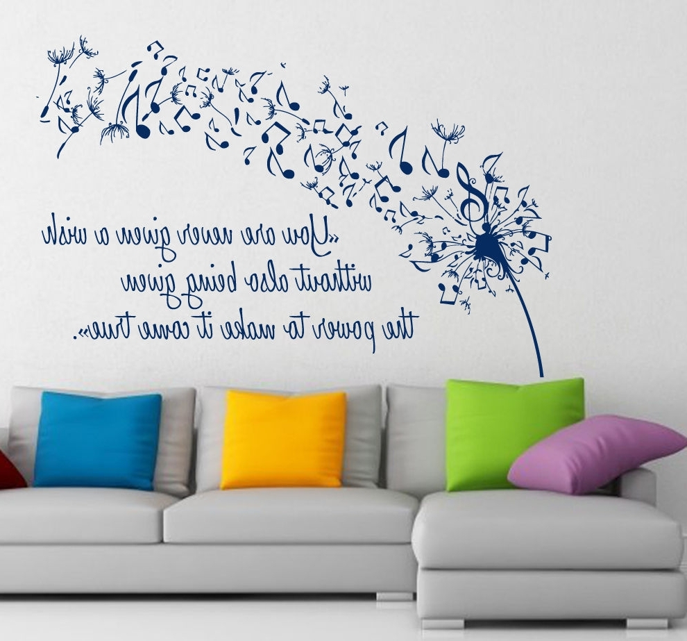 Wall Vinyl Decal Sticker Dandelion Music Quote Musical Notes Art With  Regard To Most Recently Released