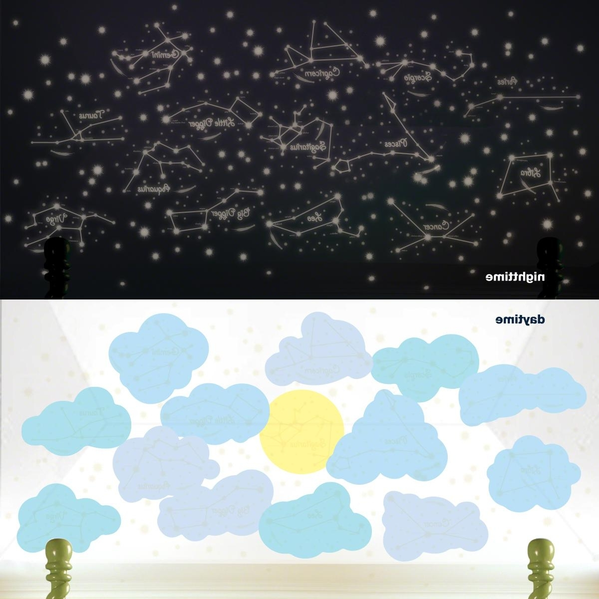 Wallcandy Arts Intended For Popular Amazon: Wallcandy Arts Wall Decal, Sunny Day And Starry Night (View 13 of 15)