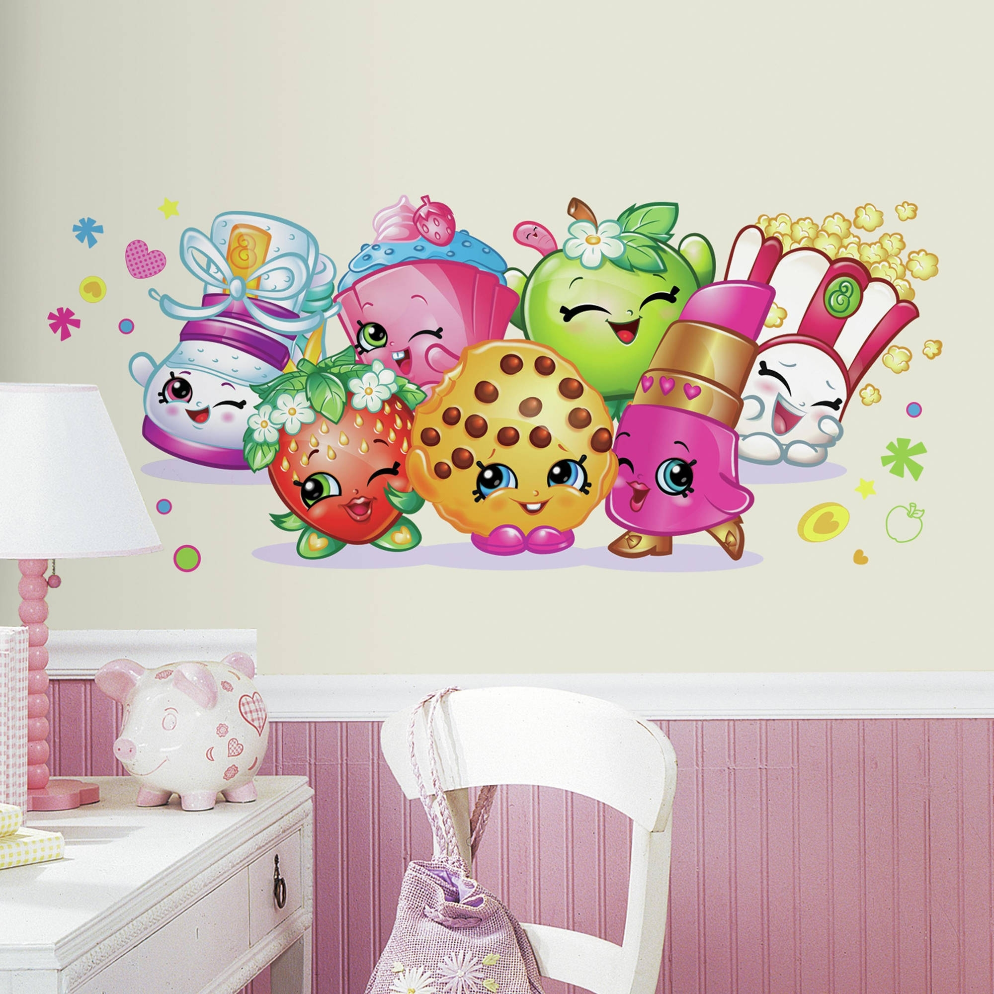 Walmart Wall Stickers Regarding Newest Roommates Shopkins Burst Peel And Stick Giant Wall Decals (View 13 of 15)