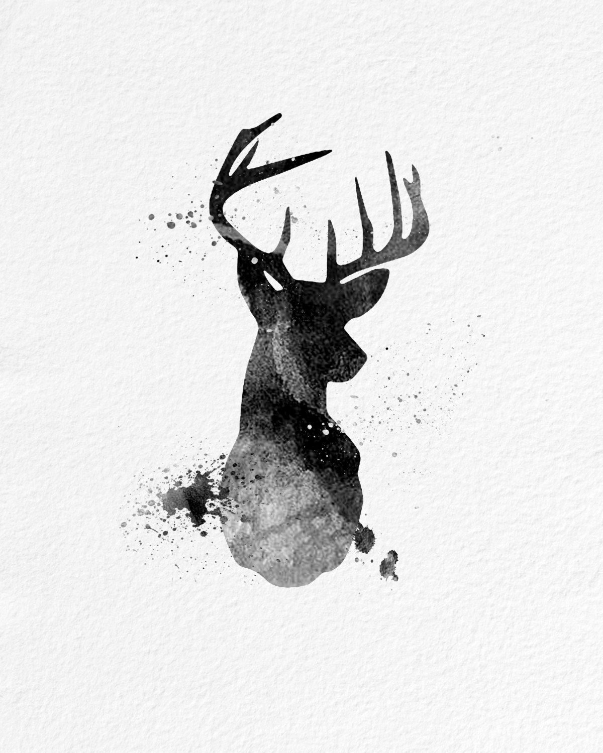 Watercolor Art Buck Deer Gift Modern 8X10 Wall Art Decor Buck Deer With Regard To Most Current Abstract Deer Wall Art (View 12 of 15)