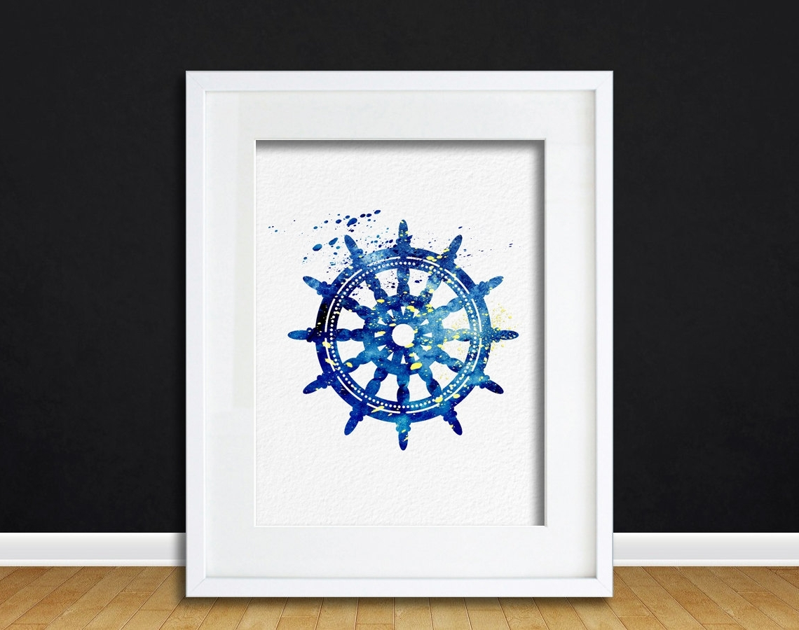 Watercolor Art Ships Wheel Gift Modern 8X10 Wall Art Decor Throughout Best And Newest Abstract Nautical Wall Art (View 13 of 15)