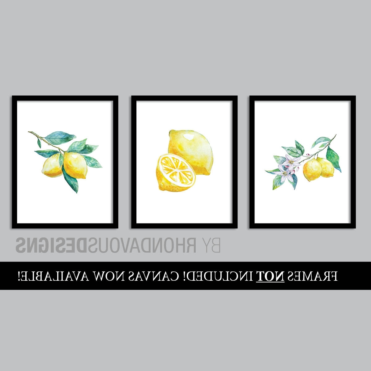 Watercolor Lemon Art Prints. French Country Decor (View 15 of 15)