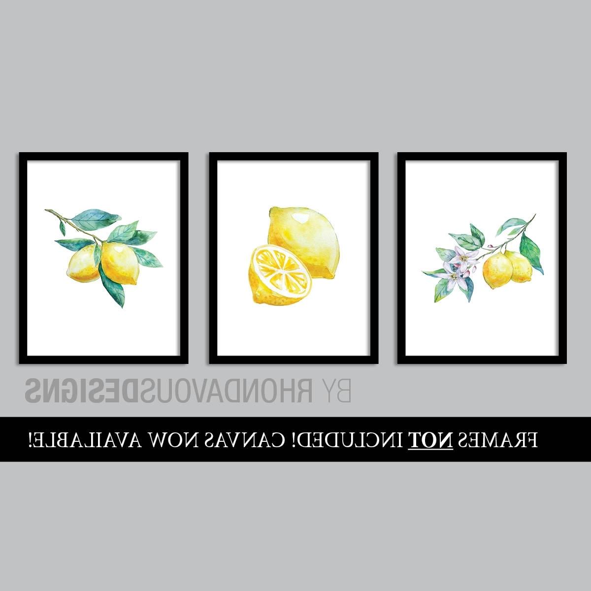 Watercolor Lemon Art Prints. French Country Decor (View 12 of 15)