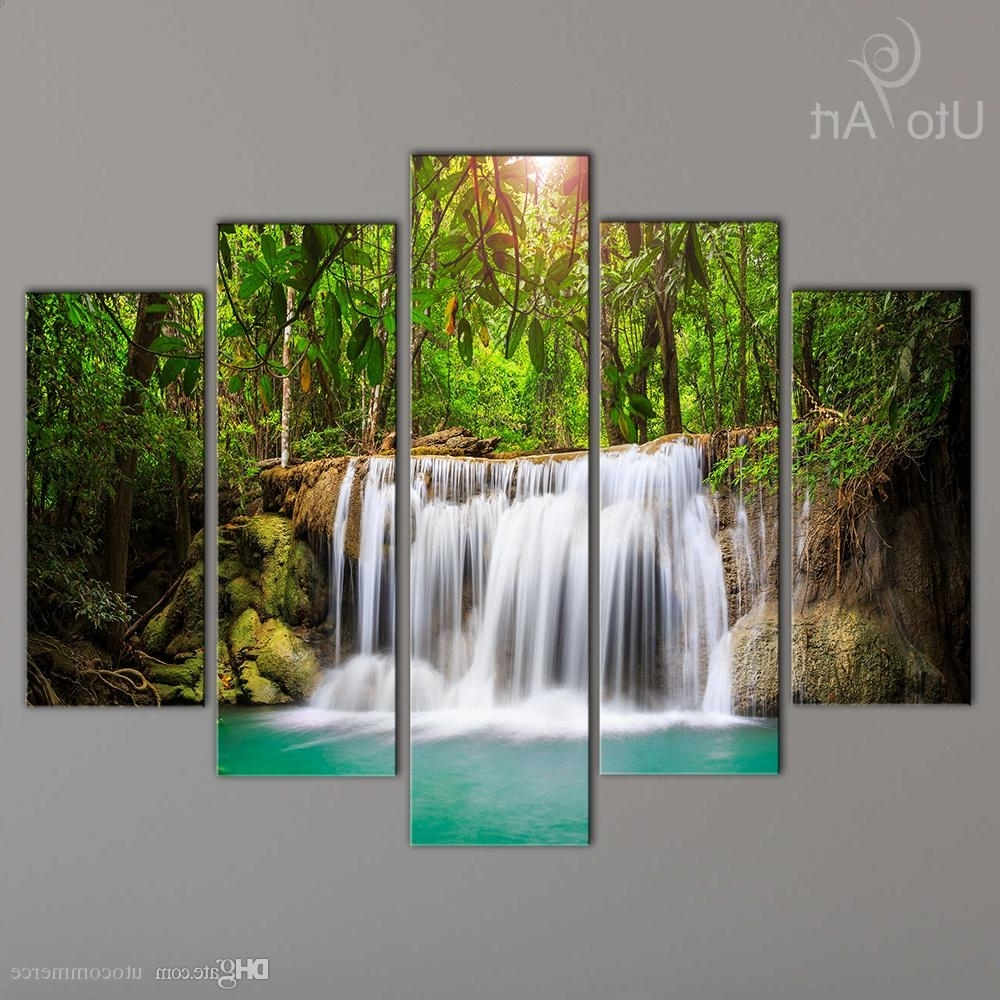 Waterfall Wall Art In 2018 2018 Wholesale Cheap Canvas Art Print Waterfall Modular Pictures (View 3 of 15)