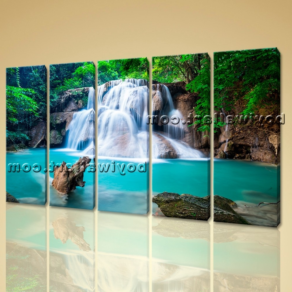 Waterfall Wall Art Pertaining To 2018 Wall Art Print Home Decoration Landscape Hd Picture Waterfall Modern (View 13 of 15)