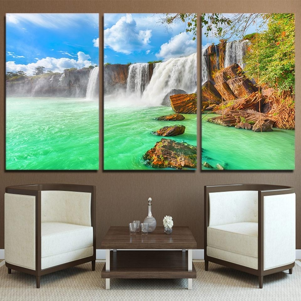 Waterfall Wall Art Pertaining To Best And Newest Hd Printed 3 Piece Waterfall Landscape Green Lake Wall Art Canvas (View 11 of 15)