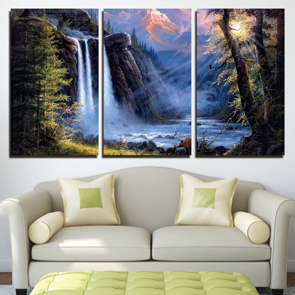 Waterfall Wall Art Regarding Most Recent Hd Prints Wall Art Poster Frame Bears Pictures 3 Pieces Sunshine (View 5 of 15)