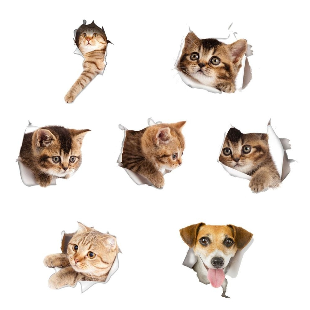 Waterproof Cat Dog 3D Wall Sticker Hole View Bathroom Toilet In Well Known Dogs 3D Wall Art (View 11 of 15)