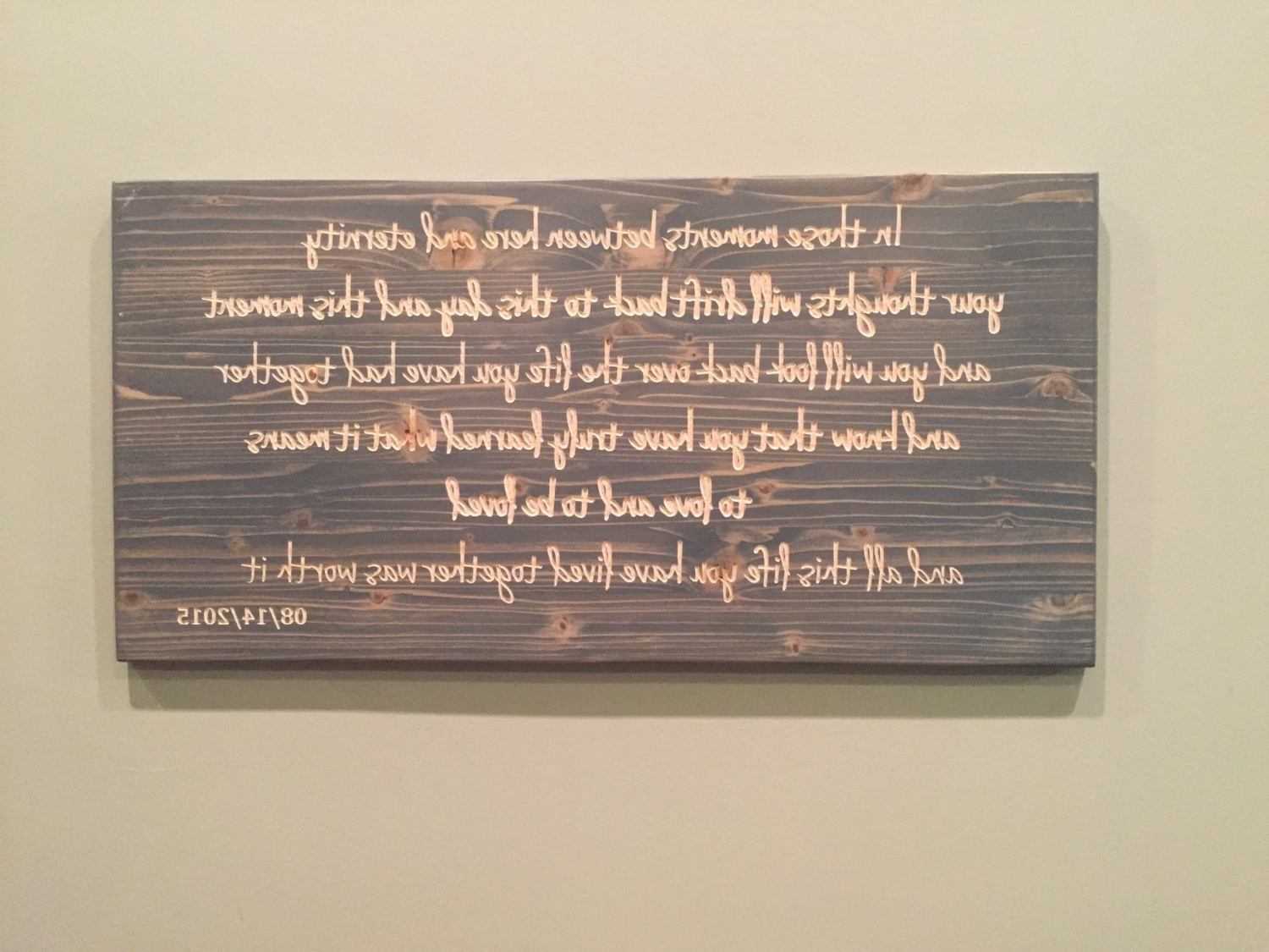 Wedding Vows, Carved Wood, Custom Quote Sign, Carved Wood Wall Art Pertaining To Famous Wooden Wall Art Quotes (View 9 of 15)