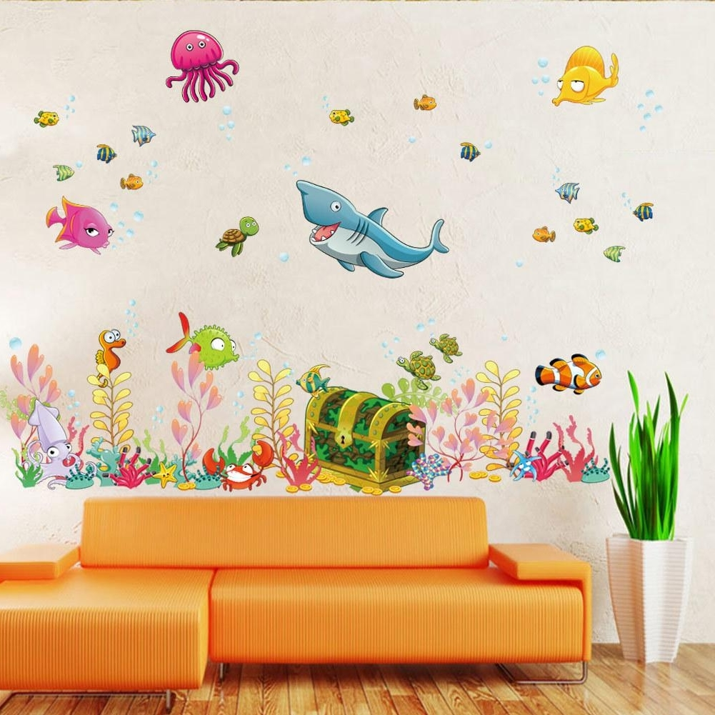 Well Known 2015 New Sea World Childrens Room Wall Sticker Ocean World Cartoon In Wall Art Stickers For Childrens Rooms (View 15 of 15)