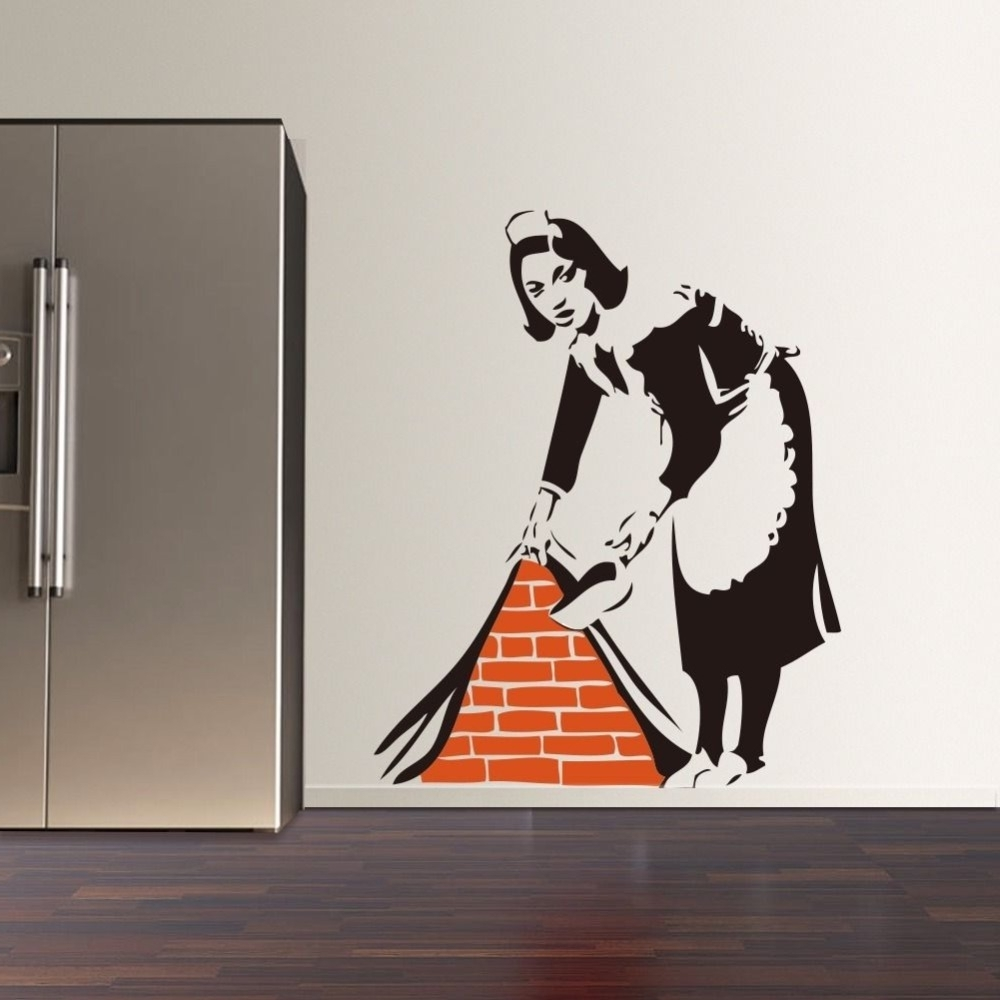 Well Known 2016 New Banksy French Maid Vinyl Wall Decal Sticker Street Art Regarding Graffiti Wall Art Stickers (View 13 of 15)