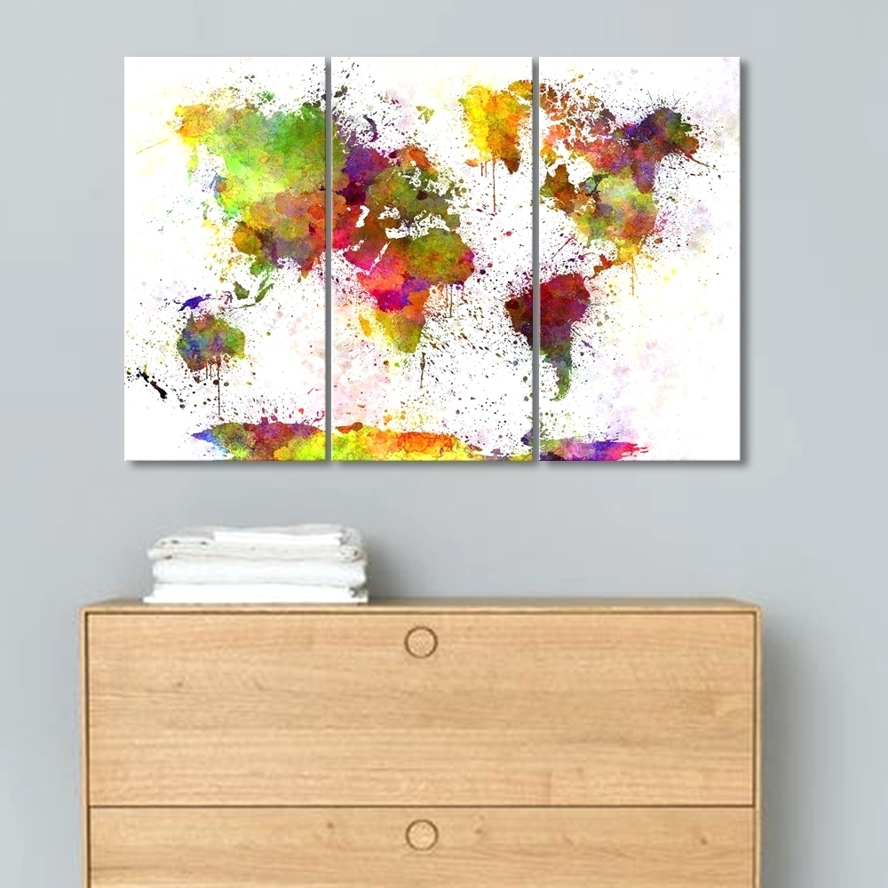 Well Known 3 Pc Canvas Wall Art Sets Intended For Wall Arts ~ Ready2Hangart Painted Petals Lx 3 Piece Canvas Wall (View 15 of 15)