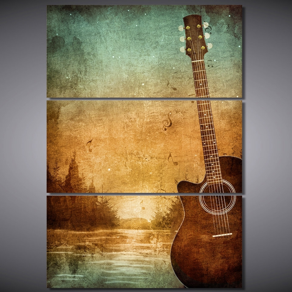 Well Known 3 Piece Printed Canvas Wall Art Acoustic Guitar Lovers Pictures In Guitar Canvas Wall Art (View 13 of 15)