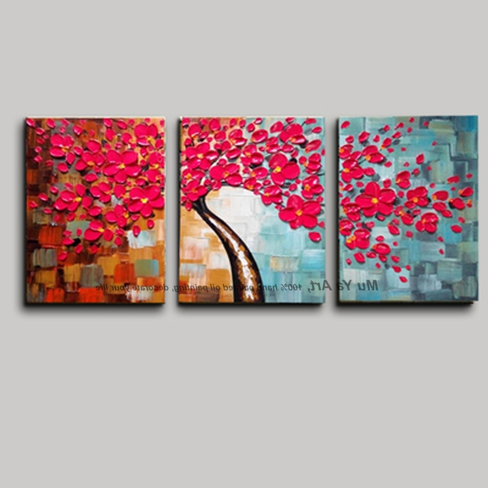 Well Known 3 Piece Wall Art Flower Pictures Acrylic Decorative Hand Painted Regarding 3 Piece Modern Wall Art (View 3 of 15)