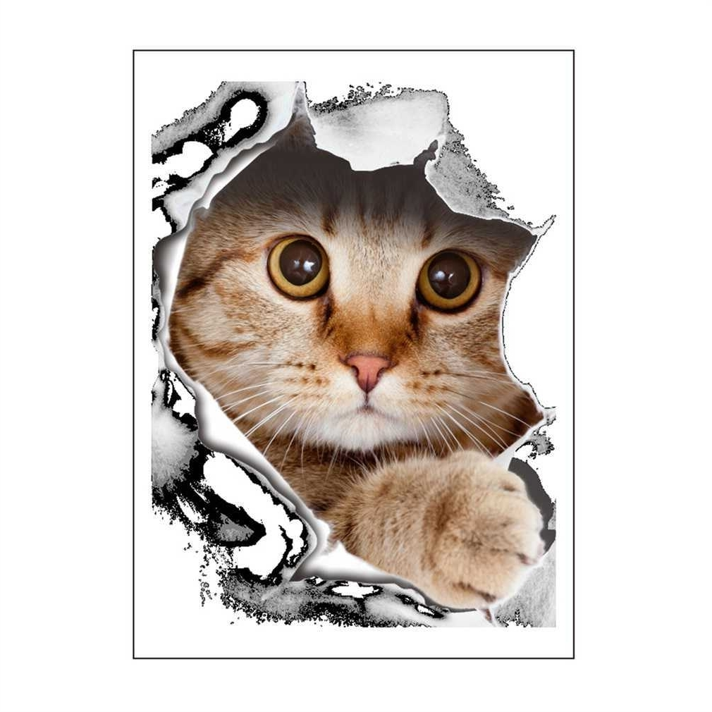 Well Known 3d Cat Dog Wall Stickers Toilet Stickers Animal Printed Bathroom With Dogs 3d Wall Art (View 6 of 15)