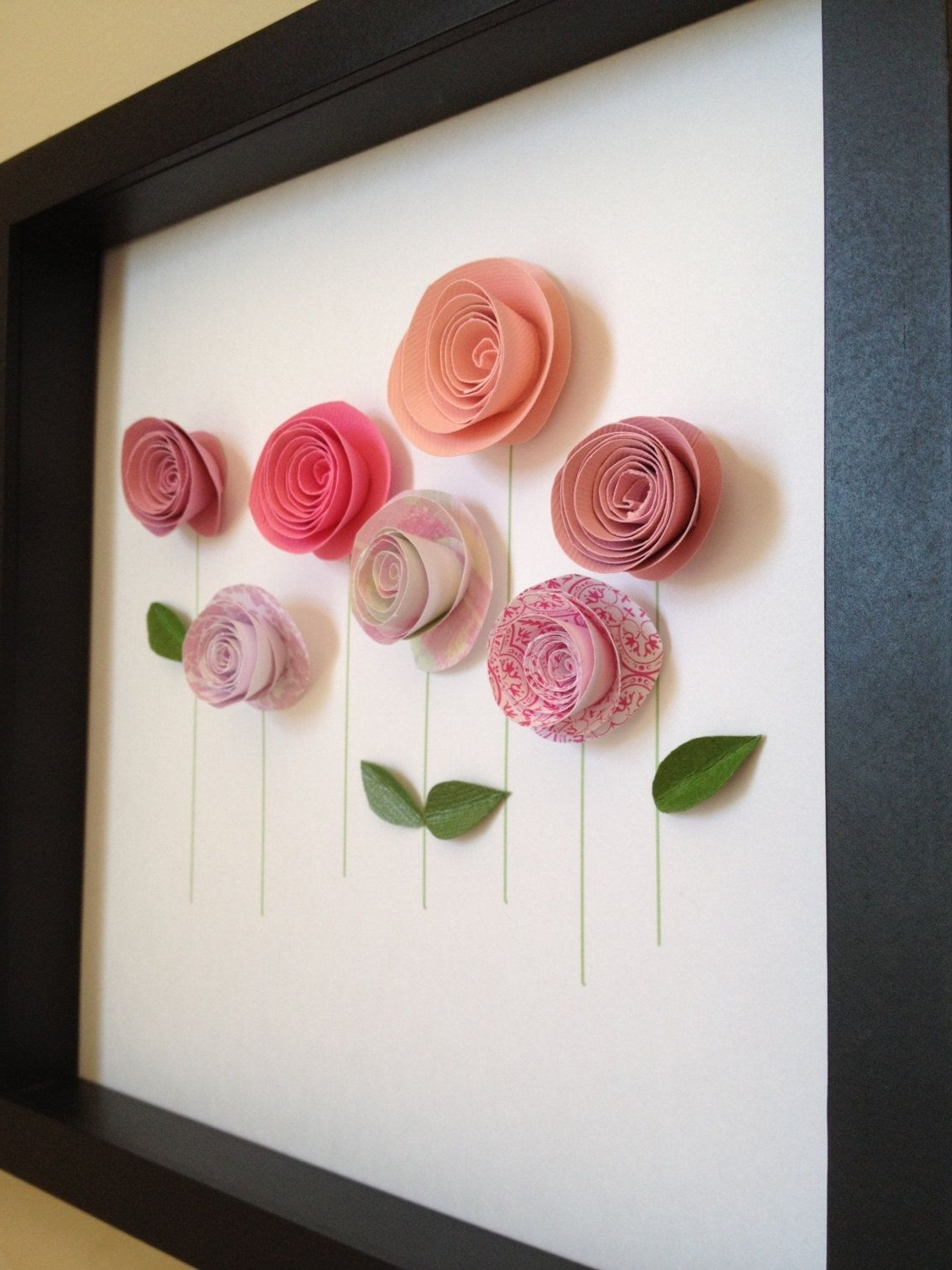 Well Known 3d Garden Wall Art With Pink Rose Garden, 3d Paper Art, Customize With Your Colors And (View 11 of 15)