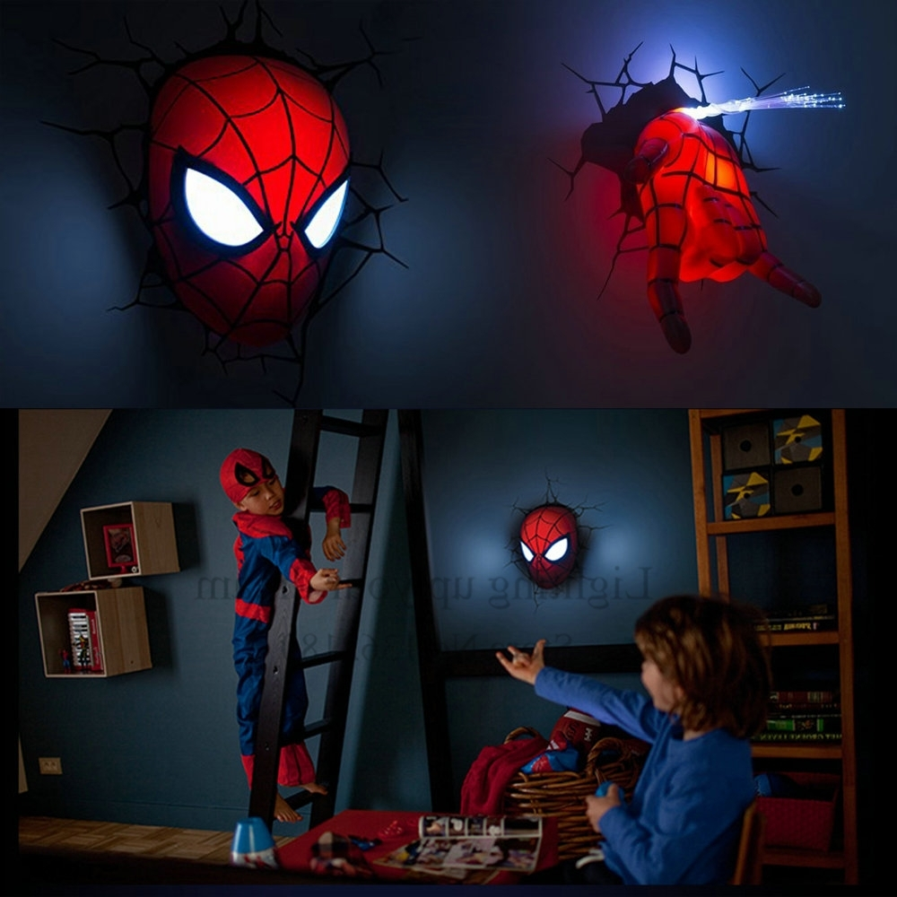 Well Known 3D Wall Art Night Light Spiderman Hand Throughout Creative Spiderman Night Light 3D Wall Lamp Amazing Baby Room (View 14 of 15)