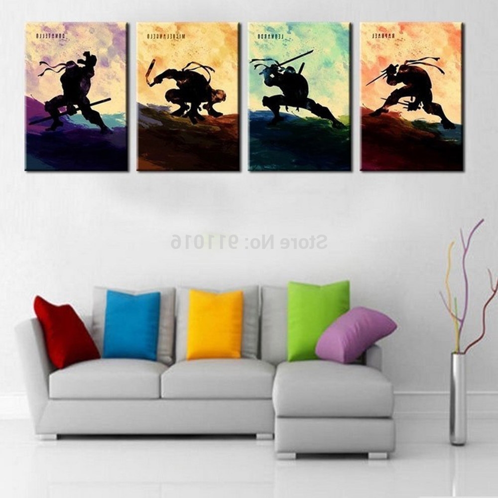 Well Known 4P Cartoon Painting Hand Painted Abstract Wall Paintings Home With Regard To Tmnt Wall Art (View 15 of 15)