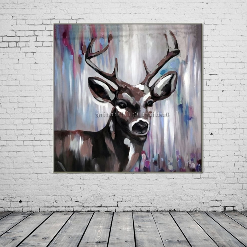 Well Known Abstract Deer Wall Art Regarding New Hand Painted Knife Animals Deer Oil Painting Hang Paintings (View 14 of 15)