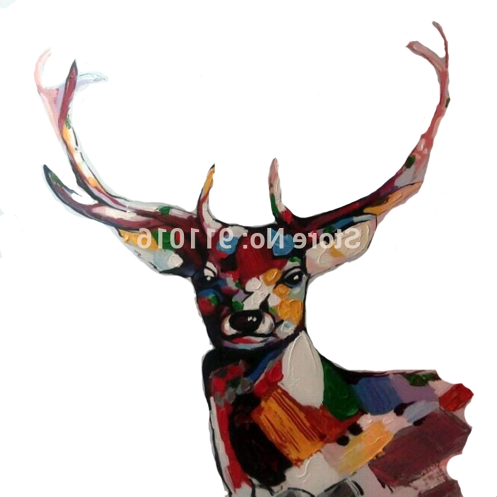 Well Known Abstract Deer Wall Art With Hand Painted Knife Abstract Animal Deer Pictures Canvas Art Modern (View 15 of 15)