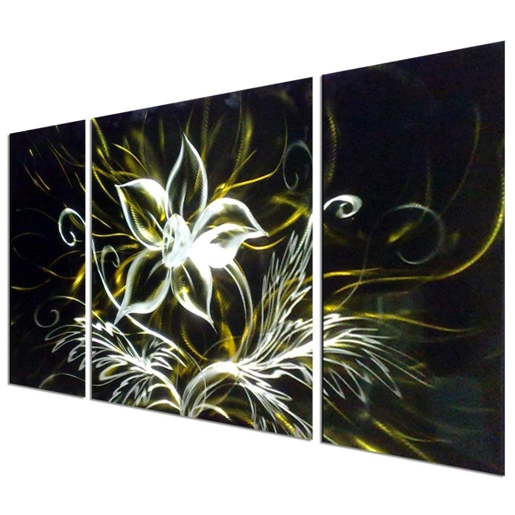 Well Known Abstract Flower Metal Wall Art With Regard To Art Stunning Night Flower Abstract Aluminum Metal Wall Art, Set Of (View 13 of 15)