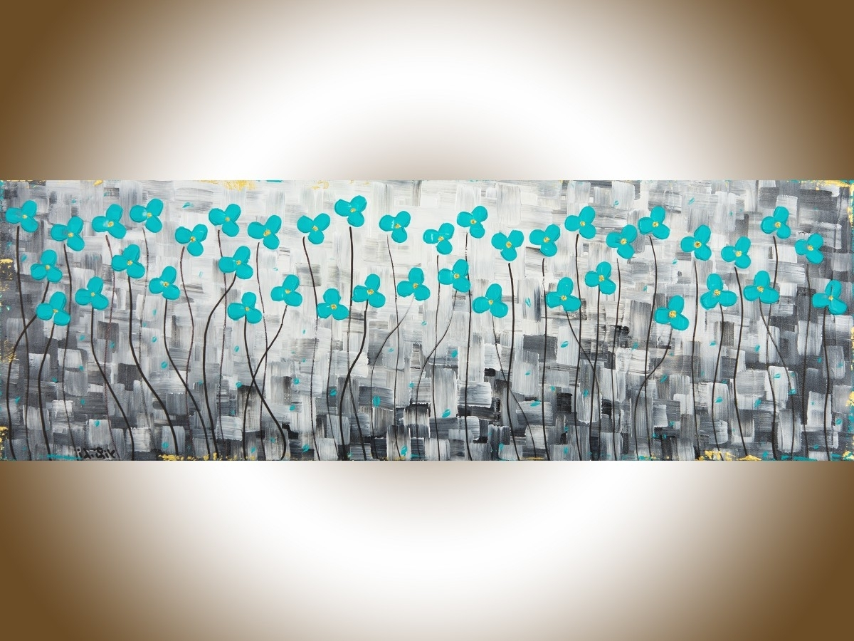 "Well Known After The Rainqiqigallery 36"" X 12"" Original Modern Abstract In Teal Flower Canvas Wall Art (View 15 of 15)"