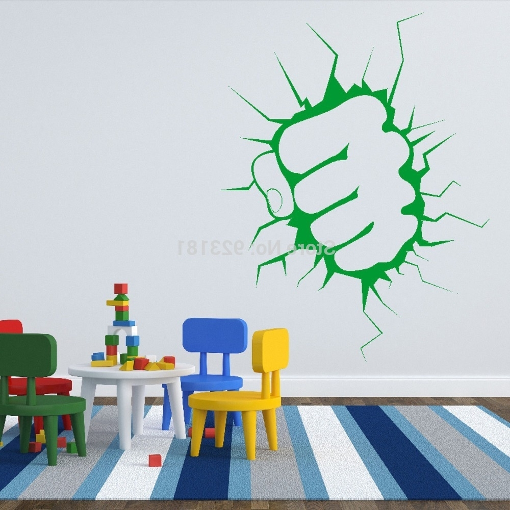 Well Known Aliexpress : Buy The Incredible Hulk Fist Punch Boys Wall Art Inside Hulk Hand 3D Wall Art (View 14 of 15)