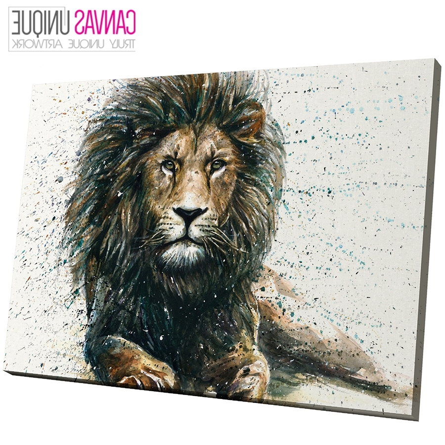 Well Known Animal Canvas Wall Art Intended For A808 Brown Lion Watercolour Sketch Animal Canvas Wall Art Framed (View 14 of 15)