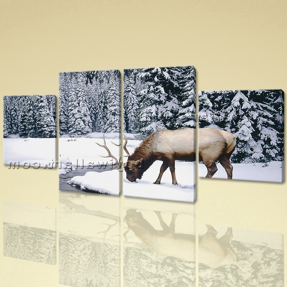 Well Known Animal Wall Art Pertaining To Large Animal Wall Art Elk Canvas Photography Painting Dining Room (View 12 of 15)