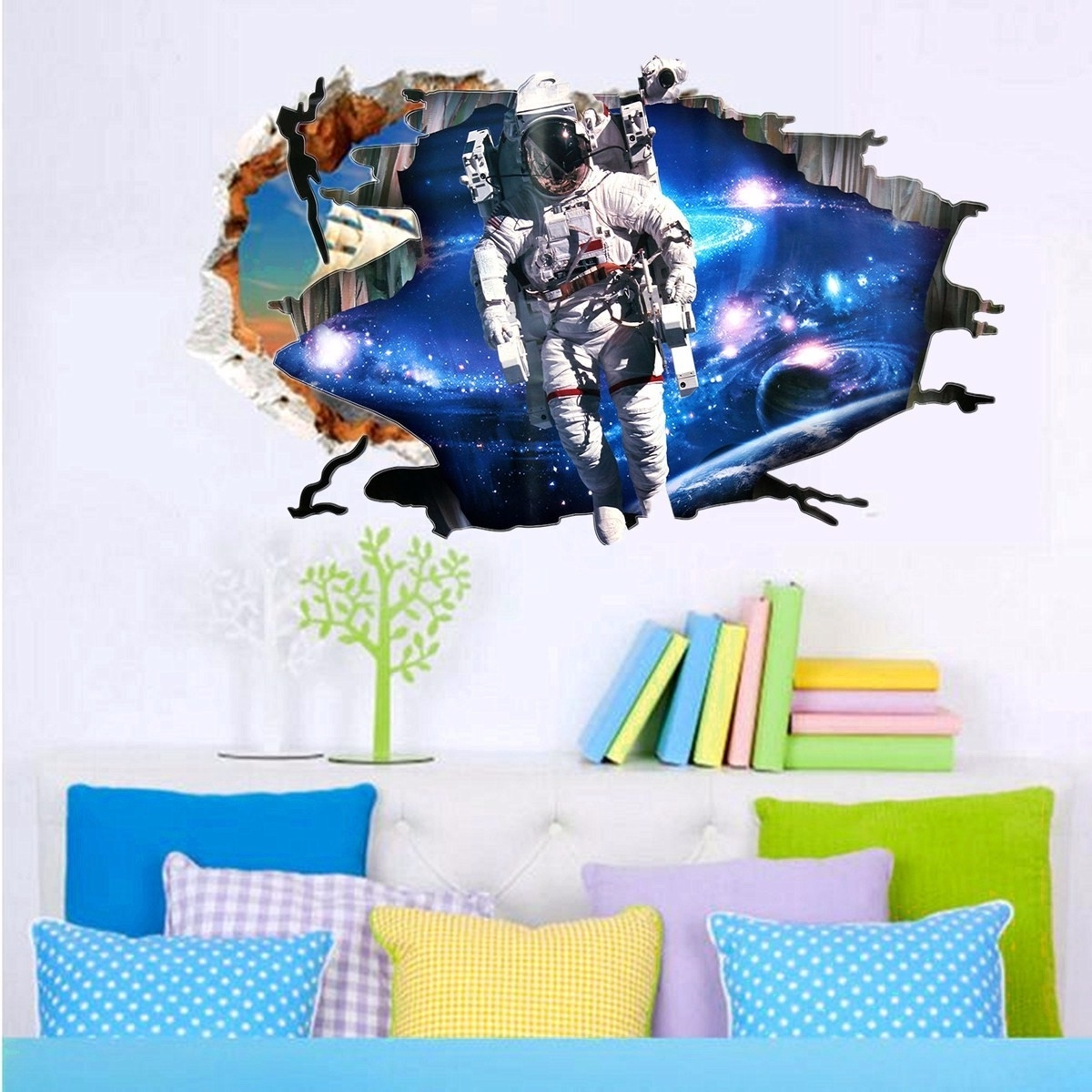 Well Known Astronaut 3D Wall Art In 3D Wall Stickers Wallpaper Space Astronauts Decor Kids Room Decal (View 14 of 15)