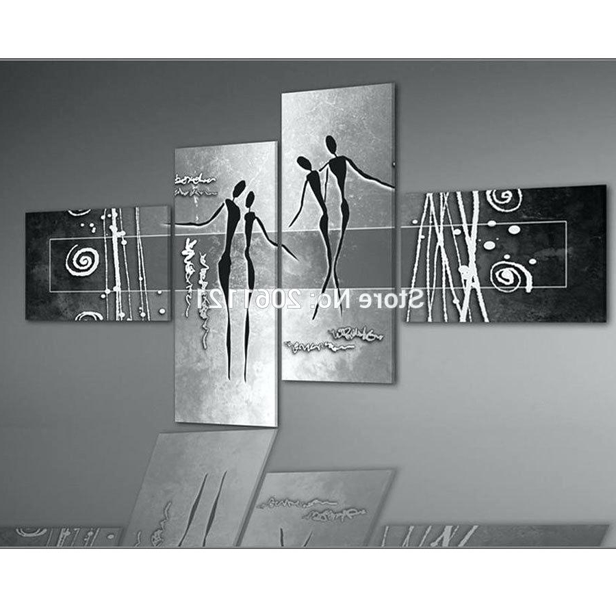 Well Known Black Silver Wall Art Pertaining To Black And Grey Painting – Alternatux (View 15 of 15)