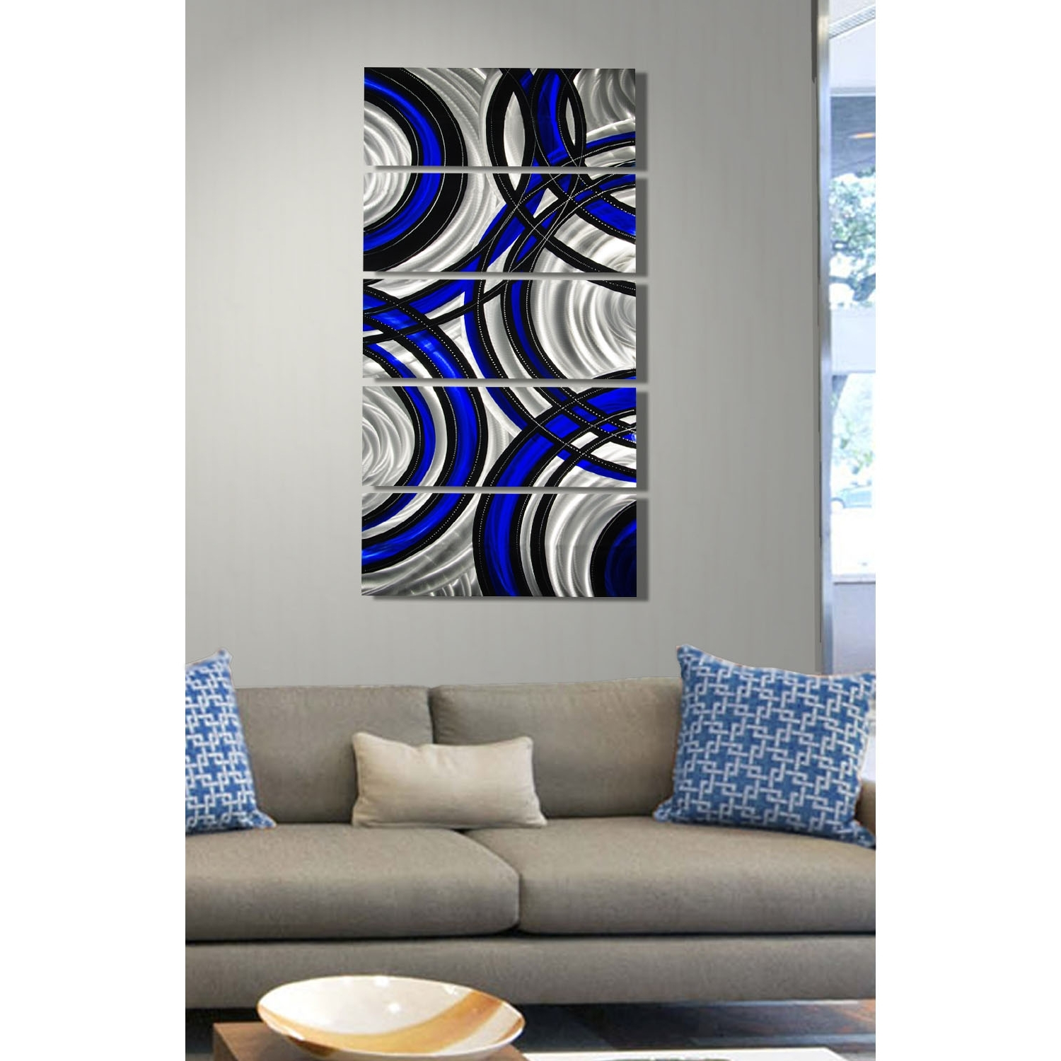 Well Known Blue And Silver Wall Art In Blue Synergy – Blue, Black And Silver Metal Wall Art – 5 Panel (View 13 of 15)